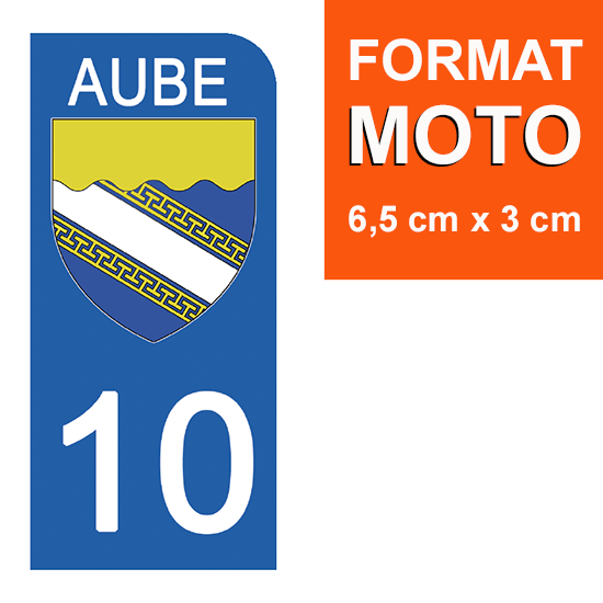 1 sticker pour plaque d\'immatriculation MOTO , 10 AUBE