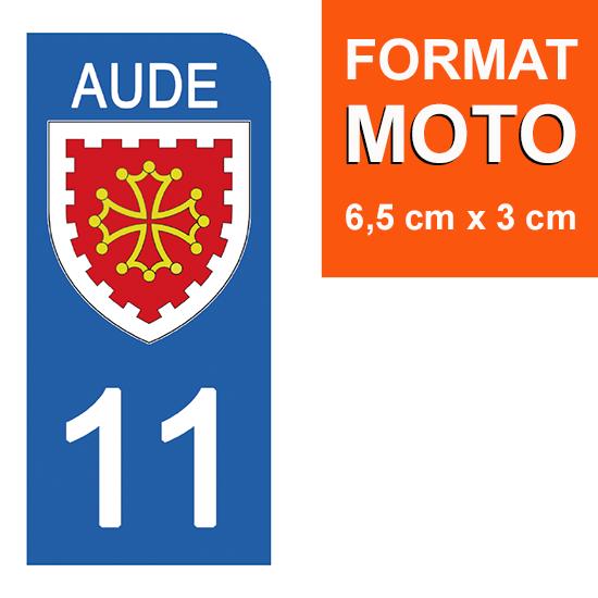 1 sticker pour plaque d\'immatriculation MOTO , 11 AUDE
