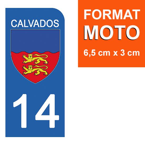 1 sticker pour plaque d\'immatriculation MOTO , 14 CALVADOS