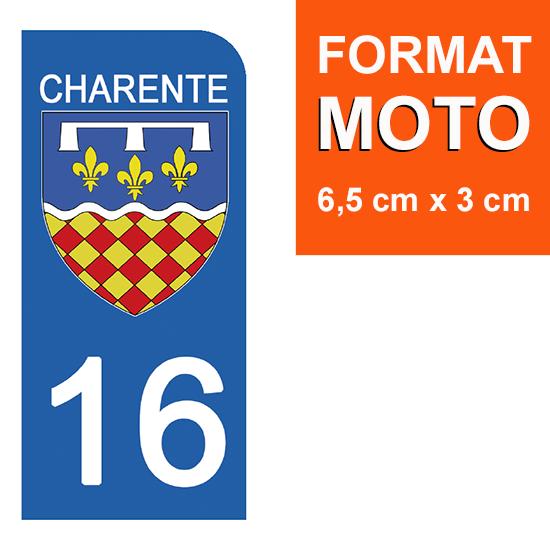1 sticker pour plaque d\'immatriculation MOTO , 16 CHARENTE