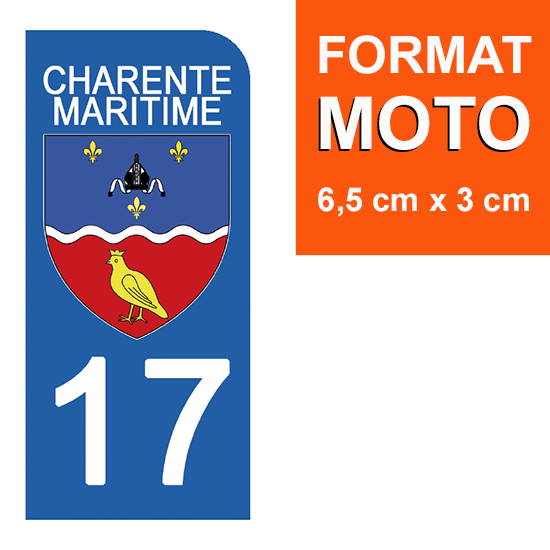 1 sticker pour plaque d\'immatriculation MOTO , 17 CHARENTE MARITIME