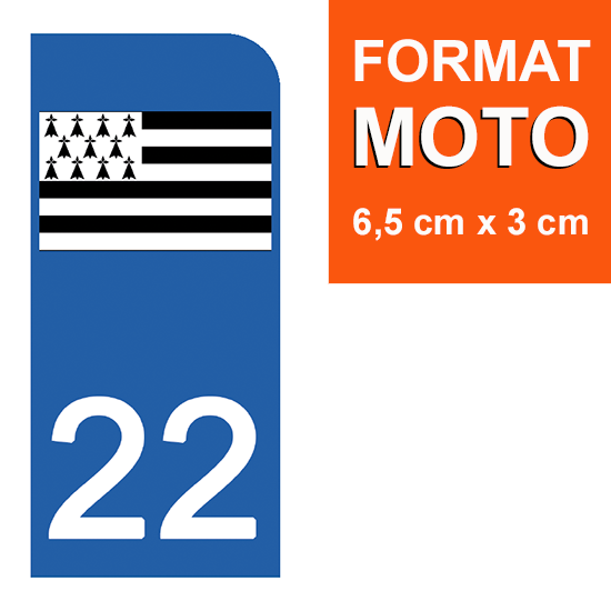 Stickers Garanti 5 Ans 22 Cote DARMOR DECO-IDEES 1 Sticker pour Plaque dimmatriculation Moto Nos Stickers sont recouvert dun pelliculage de Protection sp/écifique