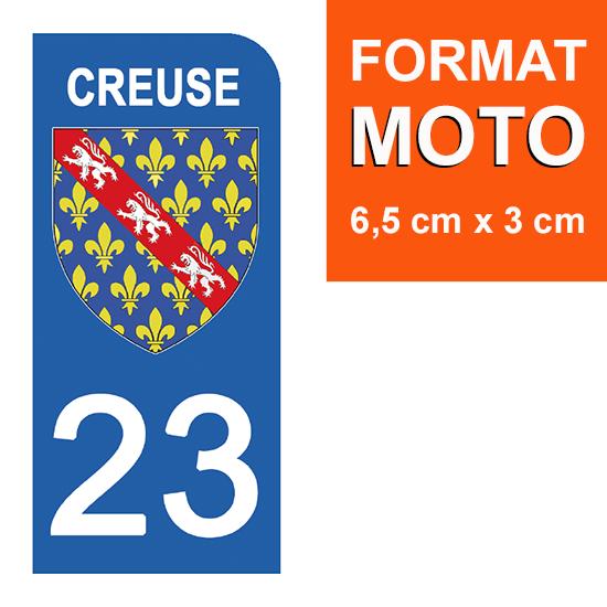 1 sticker pour plaque d\'immatriculation MOTO , 23 CREUSE