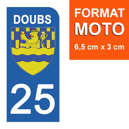 1 sticker pour plaque d\'immatriculation MOTO , 25 DOUBS
