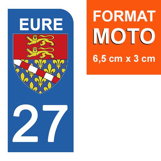 1 sticker pour plaque d\'immatriculation MOTO , 27 EURE