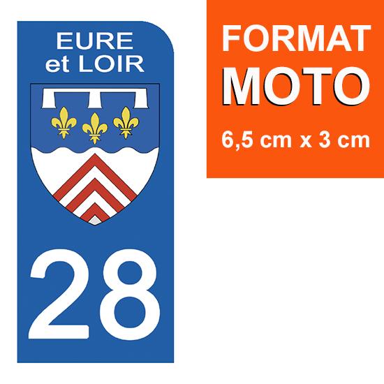 1 sticker pour plaque d\'immatriculation MOTO , 28 EURE et LOIR