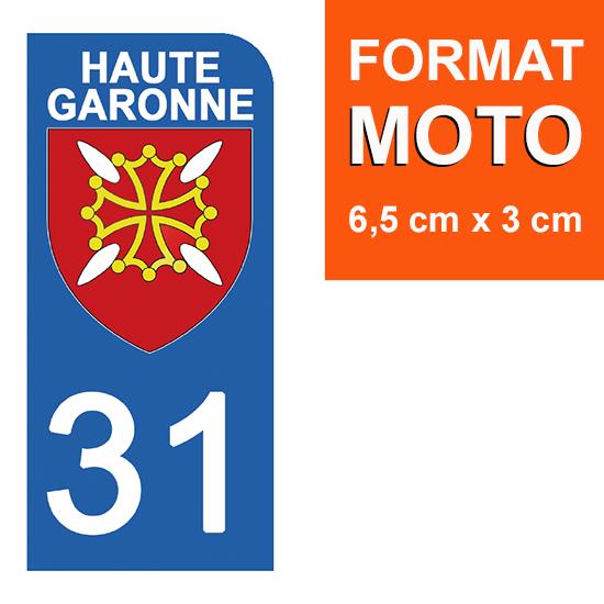 1 sticker pour plaque d\'immatriculation MOTO , 31 HAUTE GARONNE