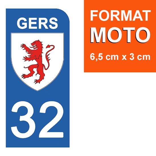 1 sticker pour plaque d\'immatriculation MOTO , 32 GERS