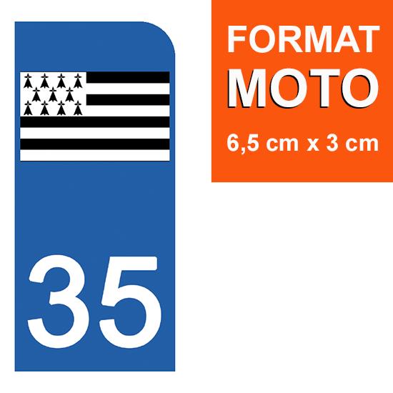 1 sticker pour plaque d\'immatriculation MOTO , 35 ILLE et VILAINE