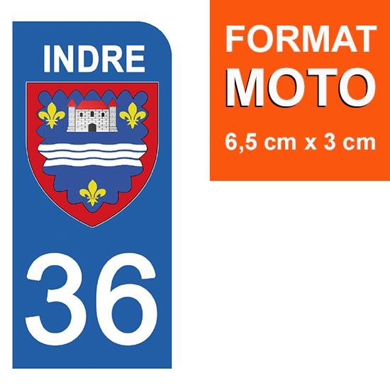 1 sticker pour plaque d\'immatriculation MOTO , 36 INDRE
