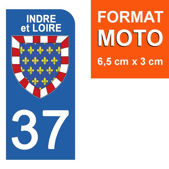 1 sticker pour plaque d\'immatriculation MOTO , 37 INDRE et LOIRE