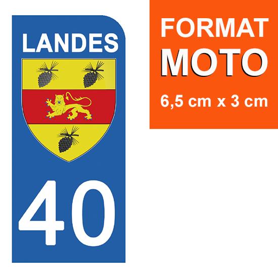 1 sticker pour plaque d\'immatriculation MOTO , 40 LANDES