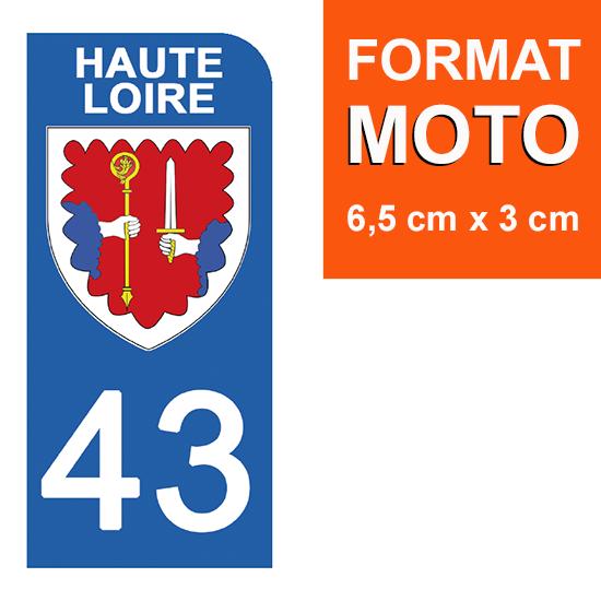 1 sticker pour plaque d\'immatriculation MOTO , 43 HAUTE LOIRE
