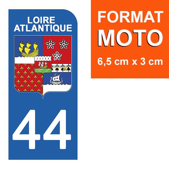 1 sticker pour plaque d\'immatriculation MOTO , 44 LOIRE ATLANTIQUE