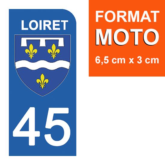 1 sticker pour plaque d\'immatriculation MOTO , 45 LOIRET