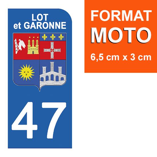 1 sticker pour plaque d\'immatriculation MOTO , 47 LOT et GARONNE