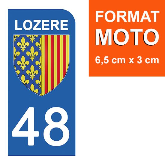1 sticker pour plaque d\'immatriculation MOTO , 48 LOZERE