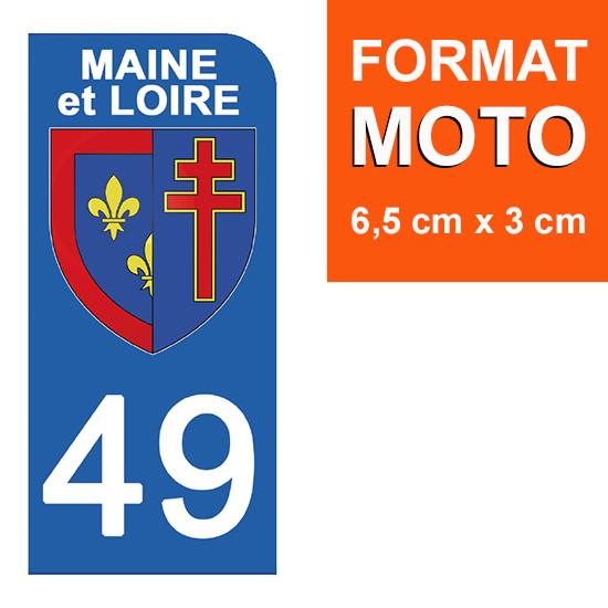 1 sticker pour plaque d\'immatriculation MOTO , 49 MAINE et LOIRE