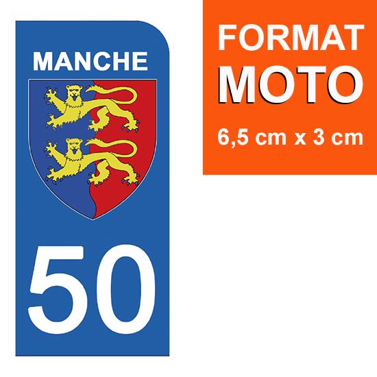 1 sticker pour plaque d\'immatriculation MOTO , 50 MANCHE