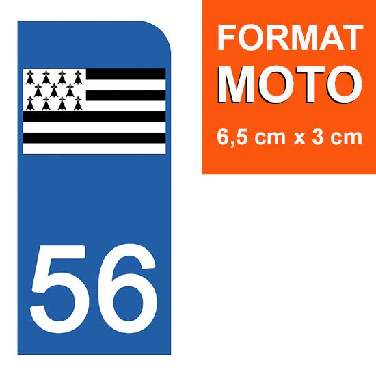 1 sticker pour plaque d\'immatriculation MOTO , 56 MORBIHAN