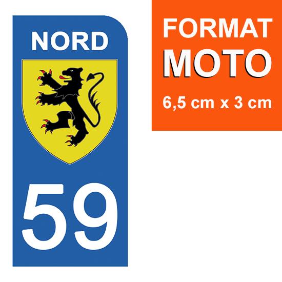1 sticker pour plaque d\'immatriculation MOTO , 59 NORD