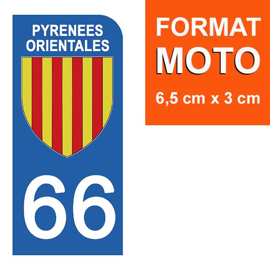 1 sticker pour plaque d\'immatriculation MOTO , 66 PYRENEES ORIENTALES