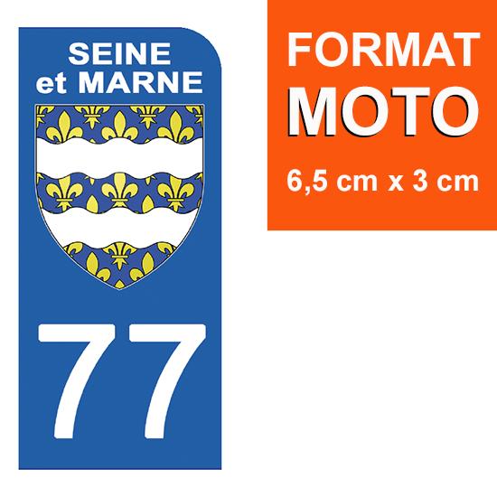 1 sticker pour plaque d\'immatriculation MOTO , 77 SEINE MARITIME