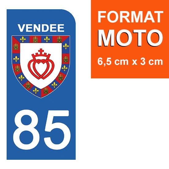 1 sticker pour plaque d\'immatriculation MOTO , 85 VENDEE