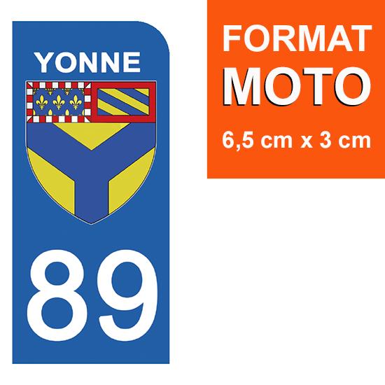 1 sticker pour plaque d\'immatriculation MOTO , 89 YONNE