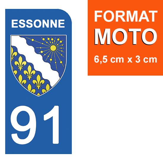 1 sticker pour plaque d\'immatriculation MOTO , 91 ESSONNE