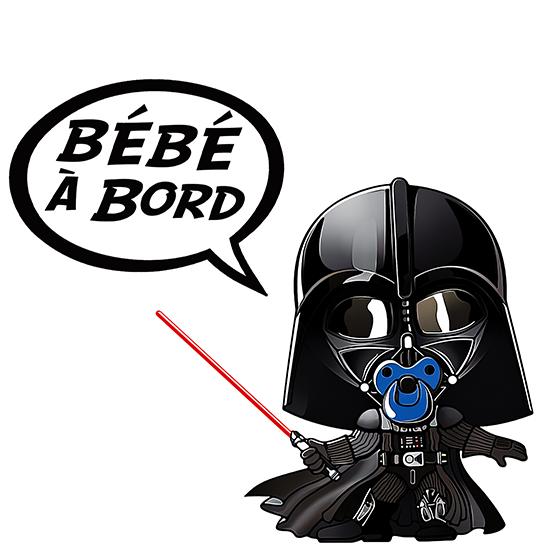 Sticker Bébé à Bord Baby Dark Vador Bleu