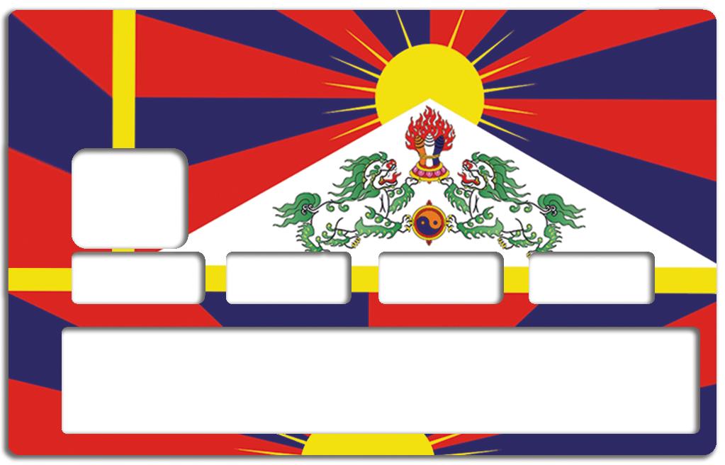 Sticker pour carte bancaire, drapeau du Tibet