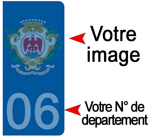 PERSONNALISEZ vos stickers pour plaque AUTO, Bleu ou Noir