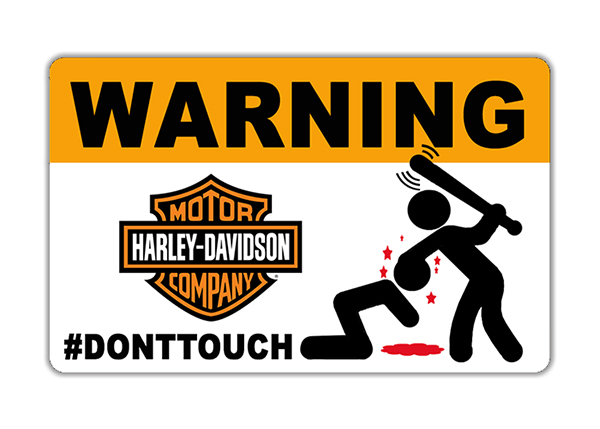 Sticker WARNING, DONT TOUCH !! HARLEY DAVIDSON