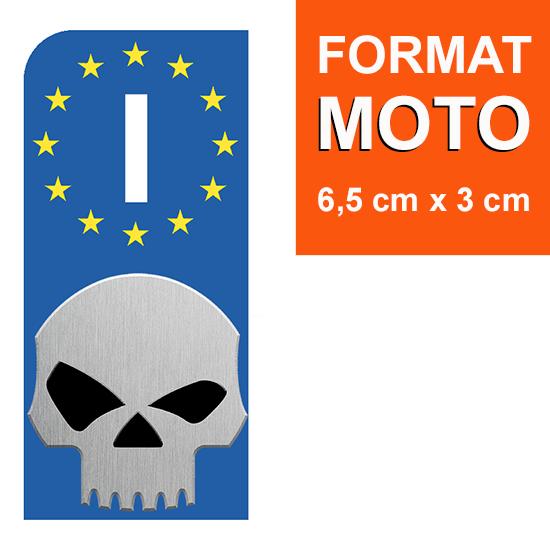 1 sticker pour plaque d\'immatriculation MOTO, Italie, V-TWIN SKULL