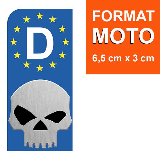 1 sticker pour plaque d\'immatriculation MOTO, Allemagne, HARLEY DAVIDSON SKULL