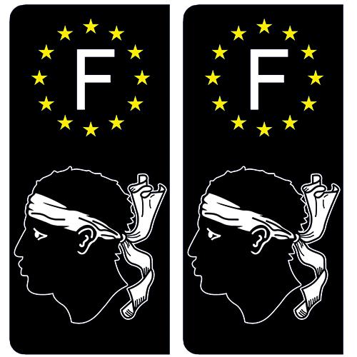 Stickers recouvert dun pelliculage sp/écifique pour Resister aux intemp/éries 2 Stickers pour Plaque dimmatriculation- Stickers Garanti 5 Ans aux Rayons UV. DECO-IDEES 2A Corse Noir
