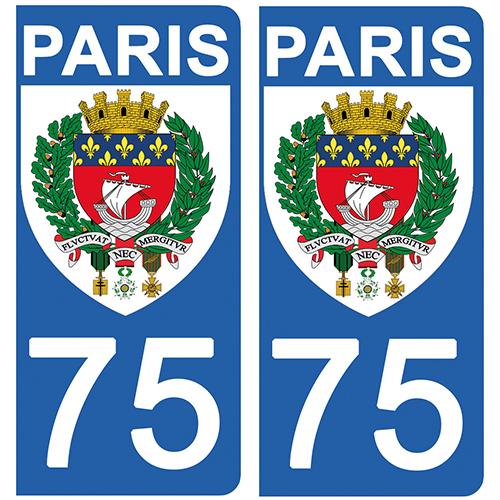 2 stickers pour plaque d\'immatriculation Auto, 75 blason de PARIS