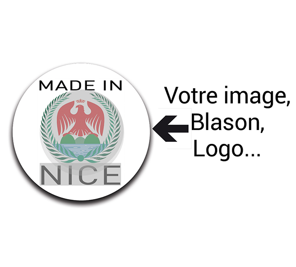 Stickers personnalisés, rond, 100% MADE IN ..., sachet de 28 stickers