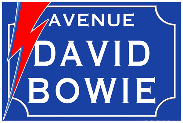 Sticker nom de rue, David Bowie