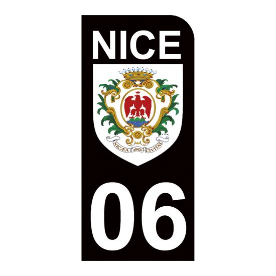 1 sticker pour plaque d\'immatriculation MOTO , Blason de Nice 06, noir
