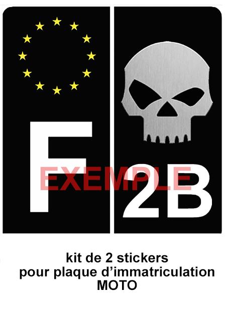 Set de 2 stickers pour plaque d\'immatriculation MOTO, SKULL Noir