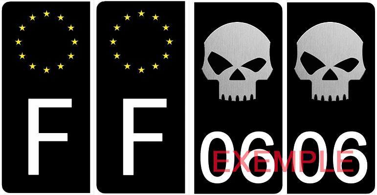 Set de 4 stickers pour plaque d\'immatriculation AUTO, SKULL, noir