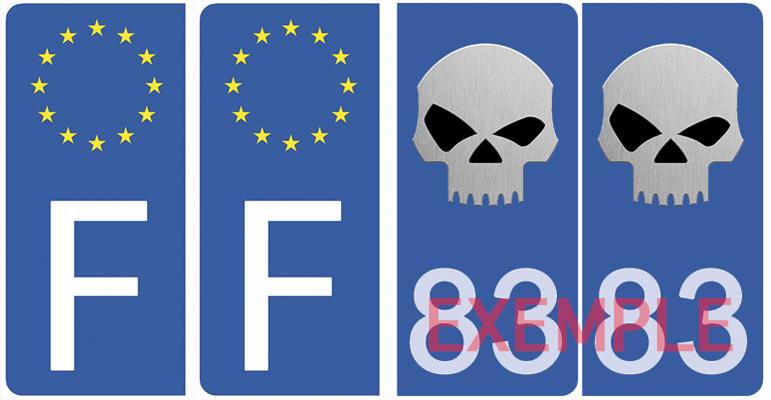 Set de 4 stickers pour plaque d\'immatriculation AUTO, SKULL, bleu
