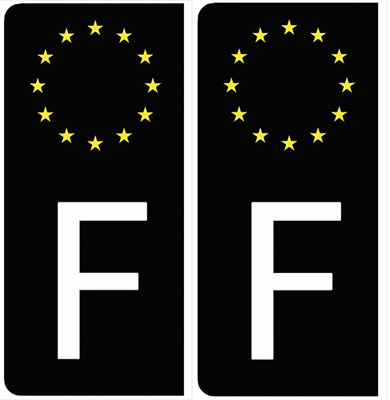 Set de 2 stickers pour plaque immatriculation Auto, Euroband France, noir