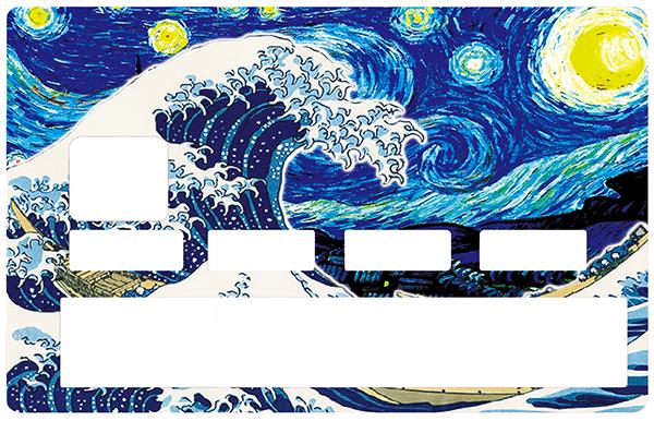Sticker pour carte bancaire, La vague rencontre les étoiles