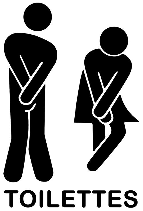 Sticker pour toilettes  ouvrez ! j\'en peux plus  H. 19 cm