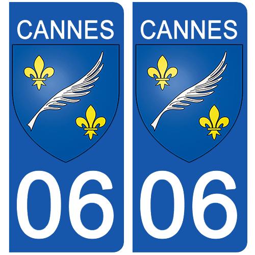 2 stickers pour plaque d\'immatriculation Auto, 06 Cannes