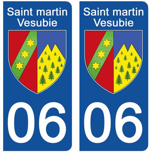 2 stickers pour plaque d\'immatriculation Auto, 06 SAINT MARTIN VESUBIE