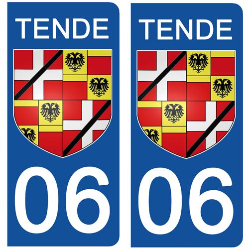 2 stickers pour plaque d\'immatriculation Auto, 06 TENDE